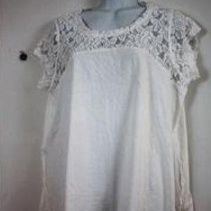 DKNYC Womens Short Sleeve Tace Trim T-Shirt White